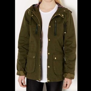 TOPSHOP ARMY LEATHER PATCH HOODED MILITARY JACKET